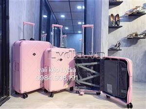 Vali kéo khung nhôm bubule 28inch màu hồng phấn